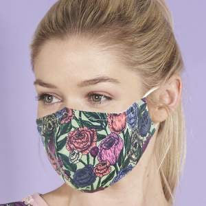 Reusable washable Face Mask Green Floral