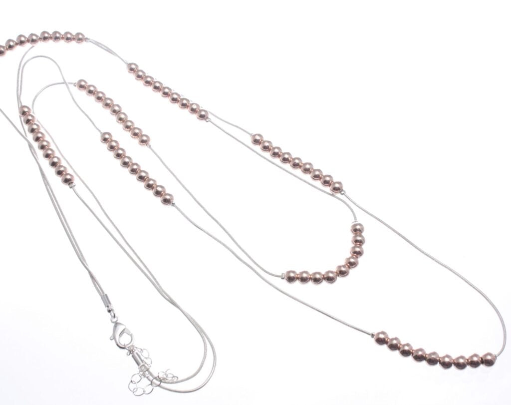Long Double Fine Snake Chain Rose Gold Necklace