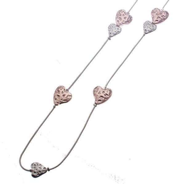 Long Cascading Battered Small Heart Silver & Rose Gold Necklace