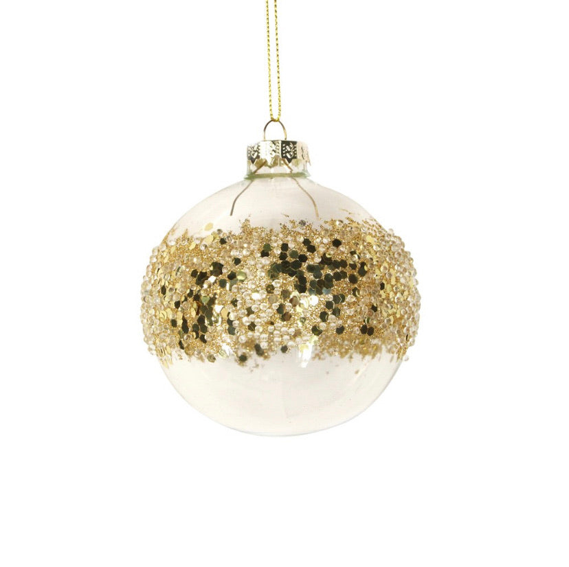 Clear/Gold sequin Band Glass Bauble 8cm