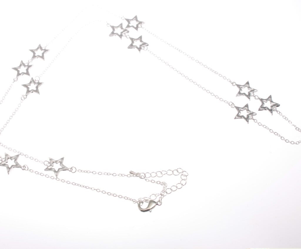 Long Delicate Cascading Silver Stars Necklace