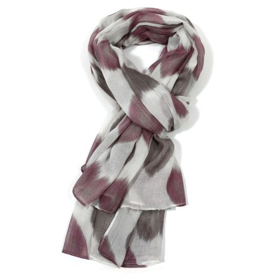 New Spring Season Scarf - Faded Hearts White with Purple