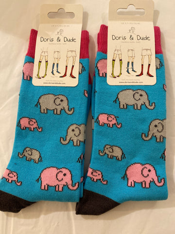 Bamboo Socks super soft in size 3-7 Blue background with grey and pink elephant pattern.