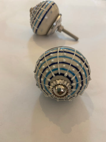 Blue Striped with white hand painted detailing Ceramic Knob