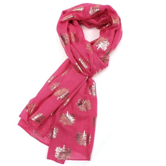 Rose Gold Oak Tree Scarf - Fuchsia