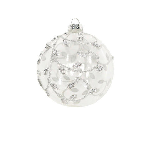 Clear/Silver Beaded Vines Glass Bauble 8cm