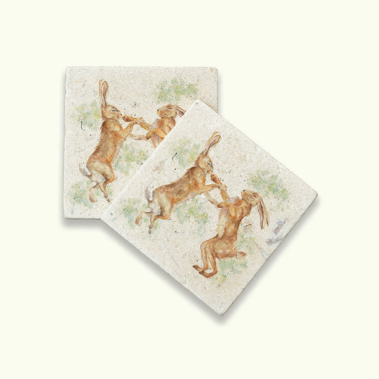 Kate of Kensington Collection: Boxing Hares coasters