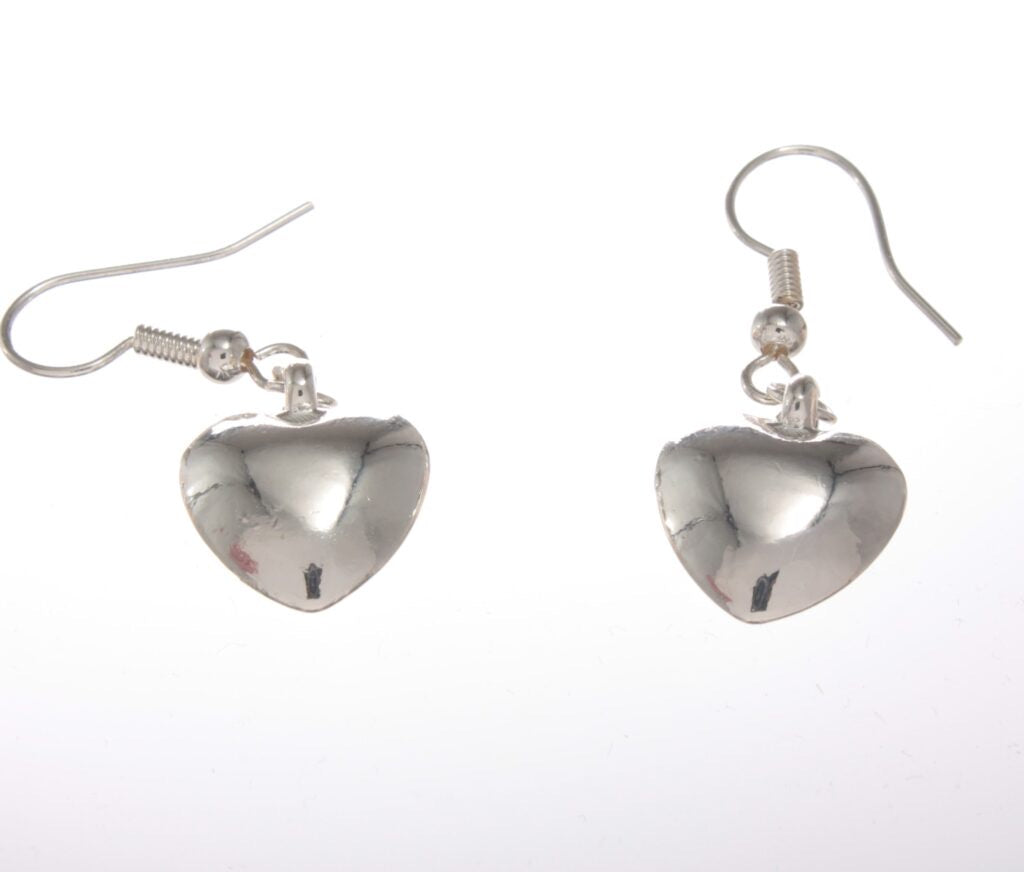Earrings - Bling Drop Heart Earrings Silver