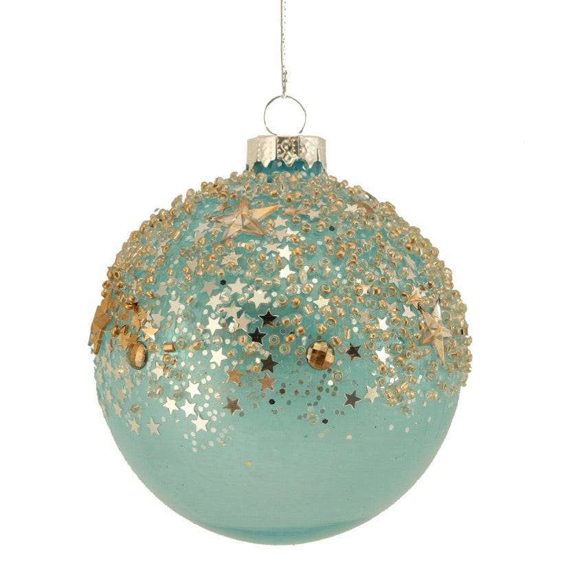 Blue/Gold Stars Glass Bauble 8cm