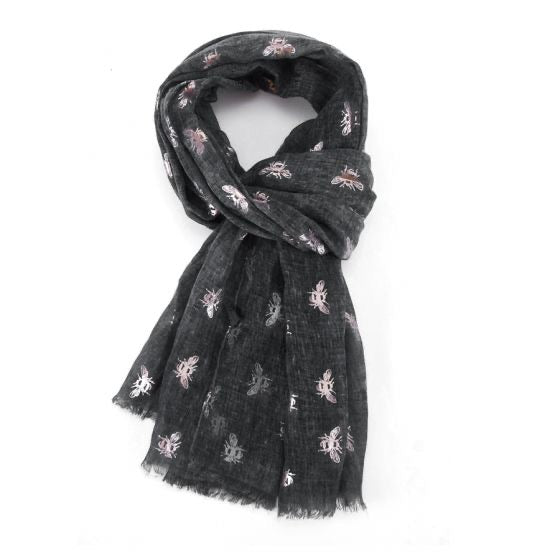 New Spring Season Scarf - Rose Gold Bees on Charcoal