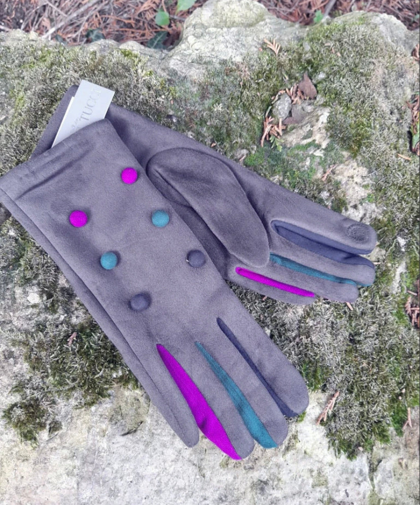 Vera T Tucci Boxed Gloves - 6 Button Grey