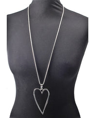 Long Silver Hollow Heart Necklace