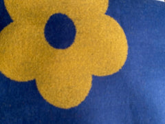 Terry Flower Winter Scarf - Navy with Yellow flowers