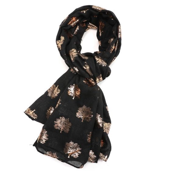 Rose Gold Oak Tree Scarf - Charcoal
