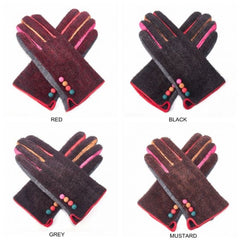 Gloves - RED Woollen gloves with button detailing and multi-coloured finish