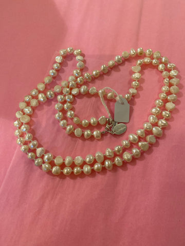 Fresh water cream Pearl single strand necklace