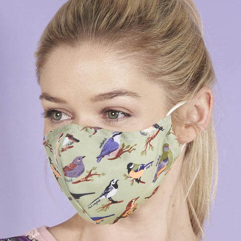Reusable washable Face Mask Green Birds