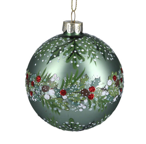 Matt Green leaf & berry band Glass Bauble 8cm