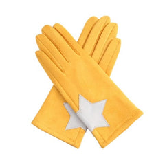 Gloves - Mustard with Silver Star Design