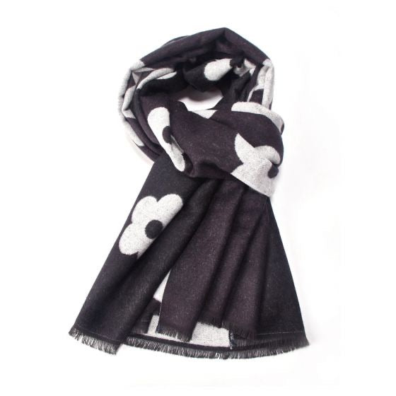 Terry Flower Winter Scarf - Black