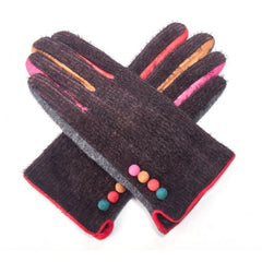 Gloves - GREY gloves with button detailing and multi-coloured finish