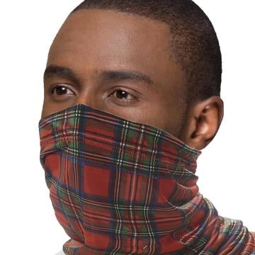 Reusable washable Face SNOOD Red Tartan