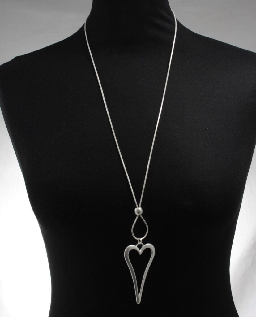 Long Hollow Heart Pendant Necklace