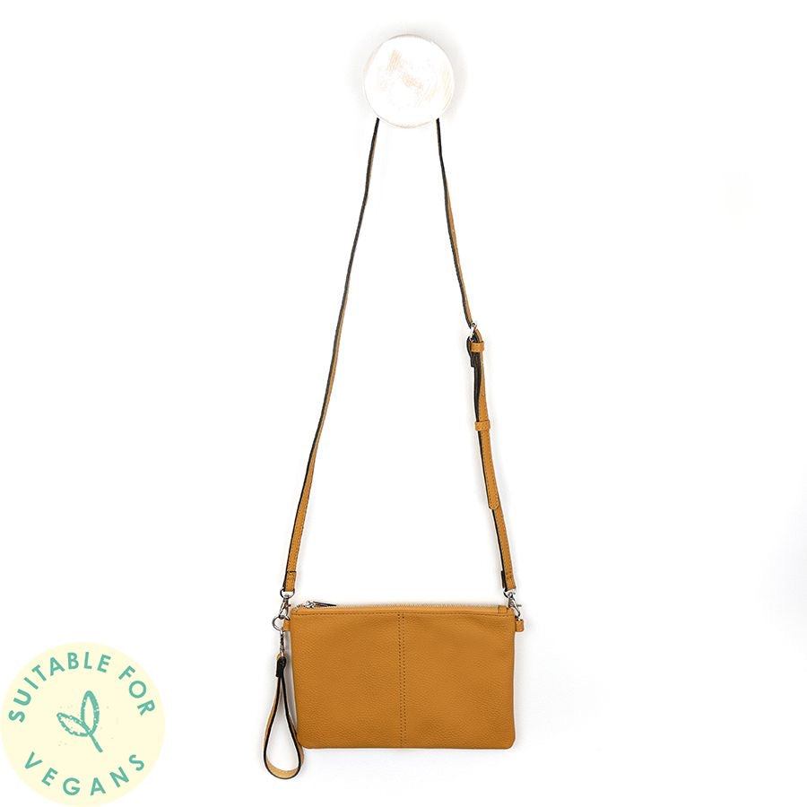 Ochre Vegan Leather convertible clutch bag
