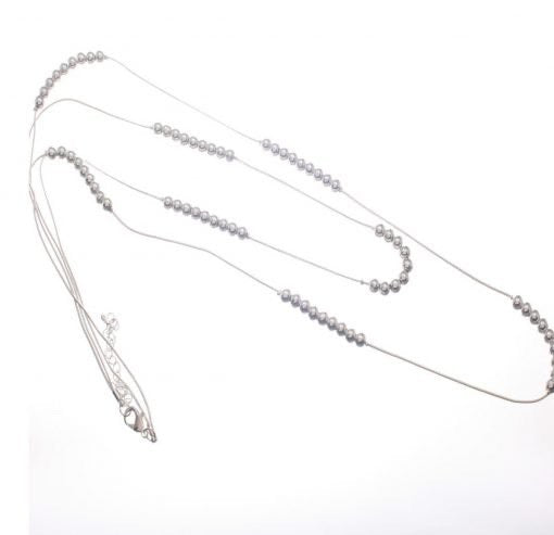 Long Double Fine Snake Chain Silver Necklace