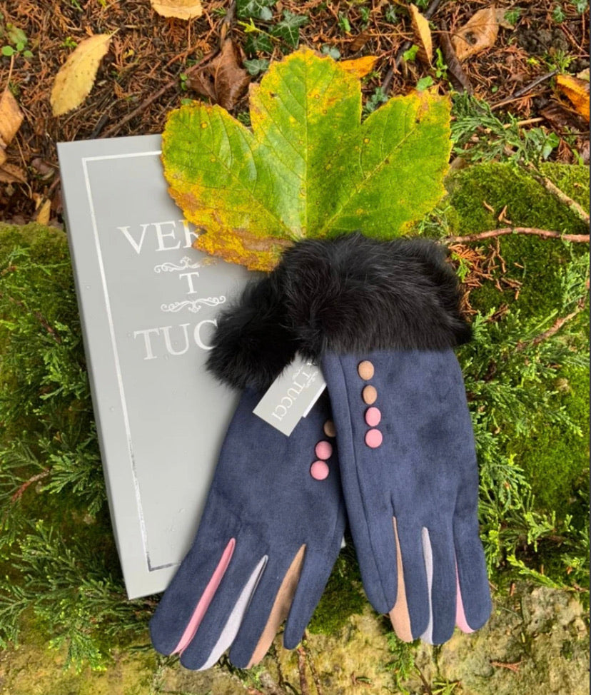 Vera T Tucci Boxed Gloves - Fur Trim in Navy