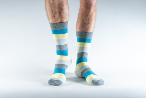 Bamboo Socks 7-11 Grey, yellow and blue multi stripe