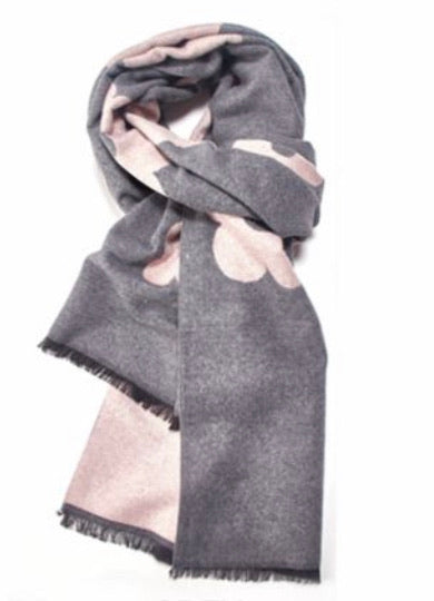 Terry Flower Winter Scarf - grey with pink flowers