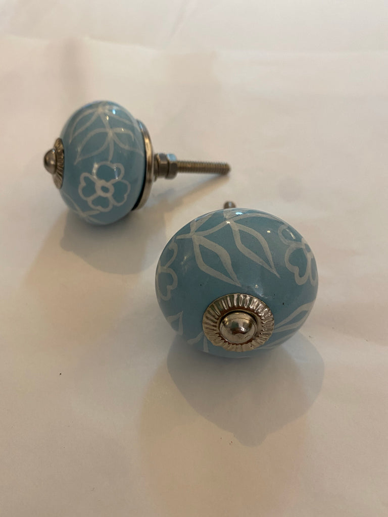 Light Blue Floral Outline Ceramic Knob