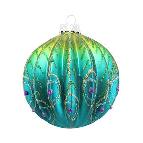 Peacock Ribbed Glass Bauble 8cm