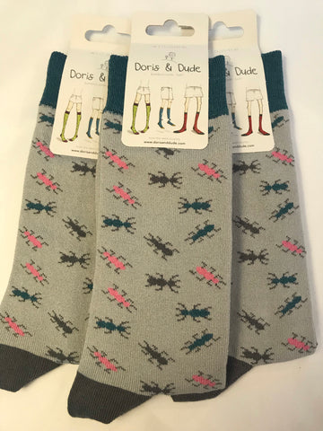 Doris & Dude Bamboo Socks 7-11 Grey Ants