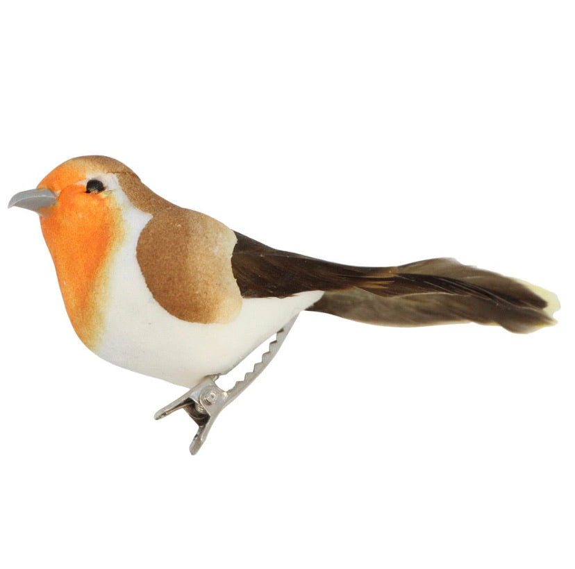 Clip-on Bird 9cm - Natural Robin