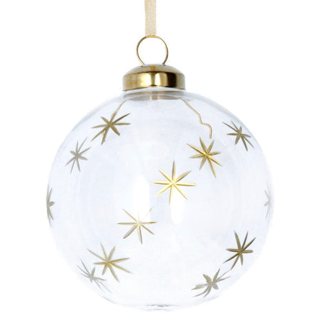 Clear w Etched Gold Stars Glass Bauble (8cm)