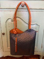 Ginny (Ostrich) Italian Leather Shoulder/Backpack/Satchel NAVY & TAN