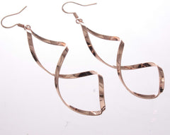 Earrings - Long Drop Swirl Earring Rose Gold