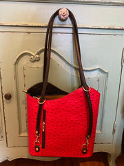 Ginny (Ostrich) Italian Leather Shoulder/Backpack/Satchel RED & BLACK