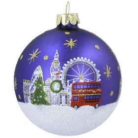 Blue London City Glass Bauble 8cm