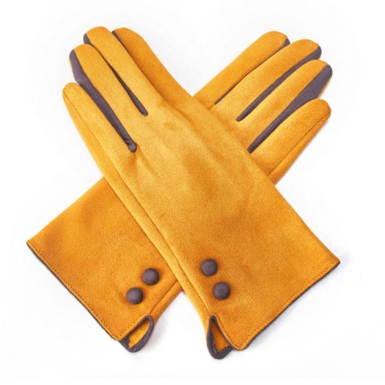Gloves -  Mustard SUEDE gloves with Grey Detailing