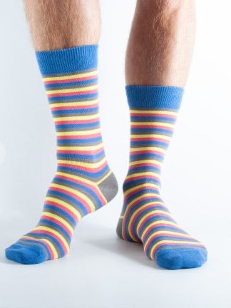 Bamboo Socks 7-11 Blue, Red & Yellow Striped