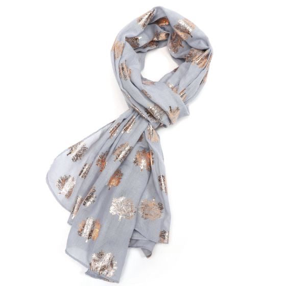 Rose Gold Oak Tree Scarf - Grey