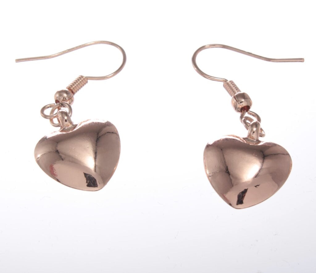 Earrings - Bling Drop Heart Earrings Rose Gold