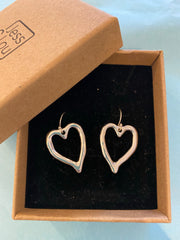 Silver plate heart earrings with hook fasteners. Beautiful Valentine gift