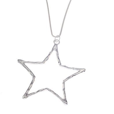 Long Silver Hollow Star Necklace