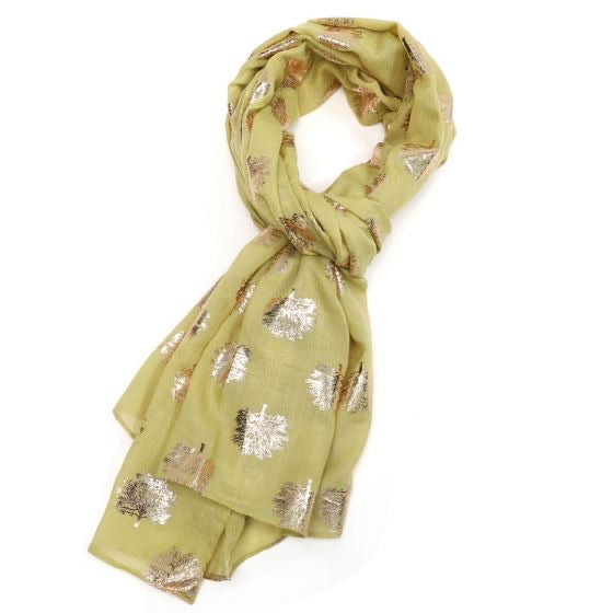 Rose Gold Oak Tree Scarf - olive green