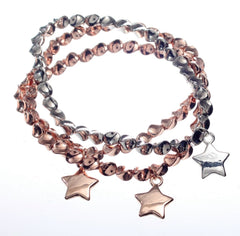 Bracelet - Triple Strand Mixed Colour Bracelet with Star Drops