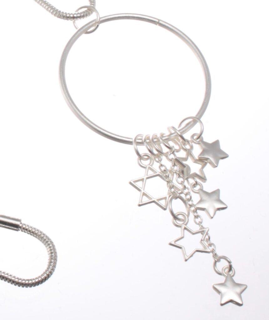 Long Pendant Necklace with Cascading Stars